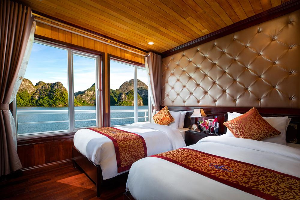 Hệ thống cabin du thuyền Lavender rộng rãi đầy đủ các trang thiết bị cao cấp